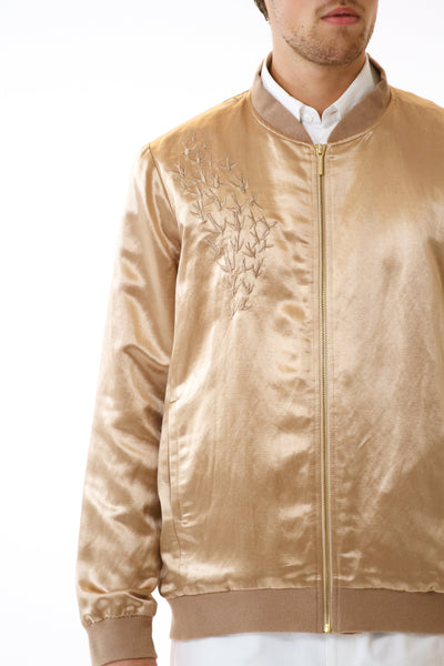 Mens Embroidered Gold Hempsilk Bomber front detail view