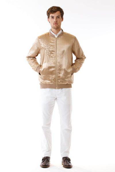 Mens Embroidered Gold Hempsilk Bomber front view