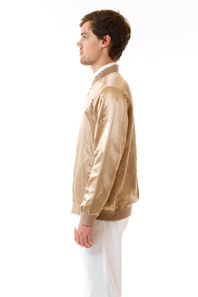 Mens Embroidered Gold Hempsilk Bomber side view