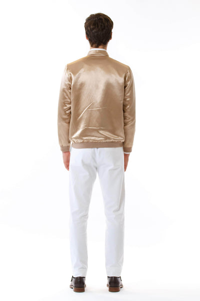 Mens Gold HempSilk Bomber back view