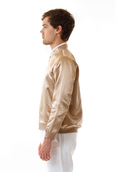 Mens Gold HempSilk Bomber side view
