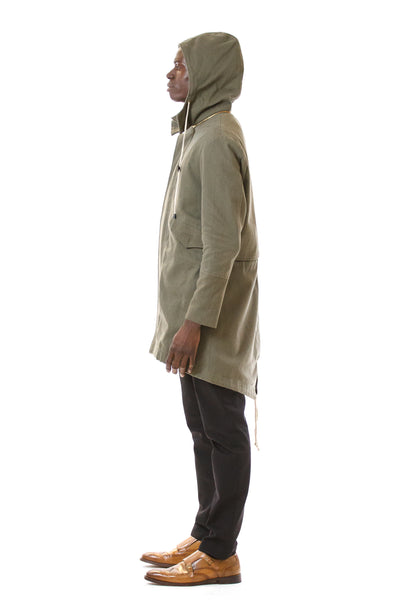 Mens Green Parka side view