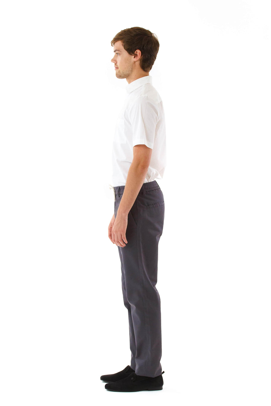 Mens Grey Drawstring Pants front view