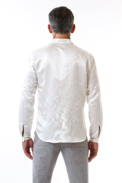 Mens Embroidered White Hempsilk Shirt back view
