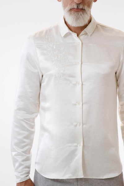 Mens Embroidered White Hempsilk Shirt front detail view