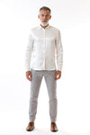 Mens Embroidered White Hempsilk Shirt front view