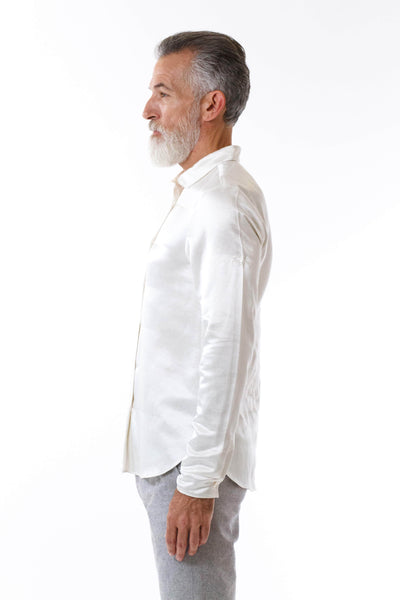 Mens Embroidered White Hempsilk Shirt side view
