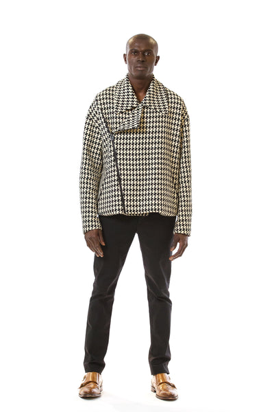 Mens Houndstooth Motorcycle Jacket front view