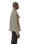 Mens Houndstooth Motorcycle Jacket side view