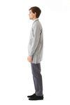Mens Grey Hemp Long Bomber side view