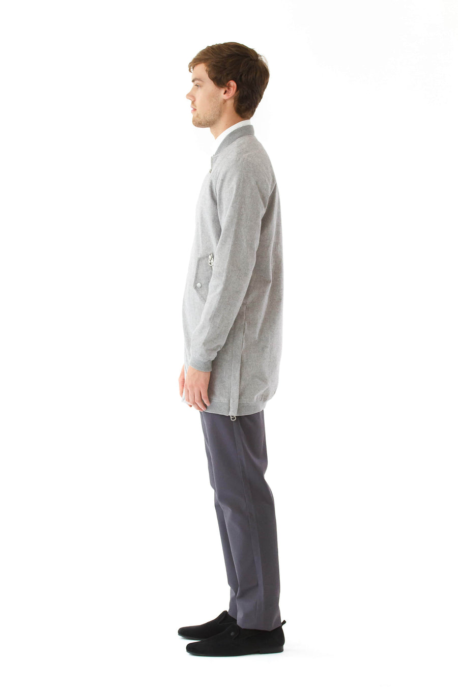 Mens Grey Hemp Long Bomber front view