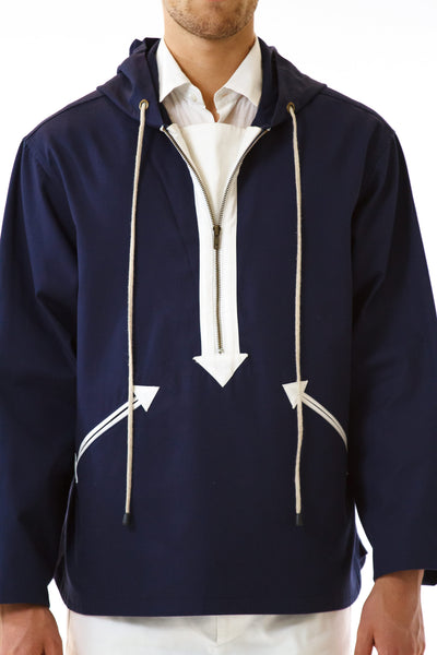 Mens Navy Anorak front detail view