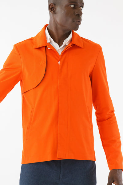 Mens Orange Recycled Mackintosh Jacket front detail view