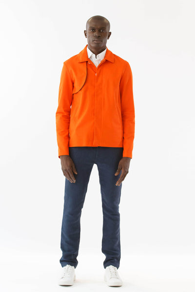 Mens Orange Recycled Mackintosh Jacket front view