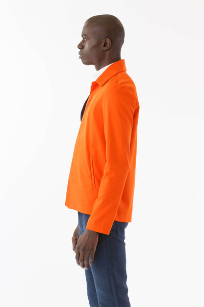 Mens Orange Recycled Mackintosh Jacket side view