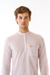 Mens Cutout Long Woven Shirt front detail view