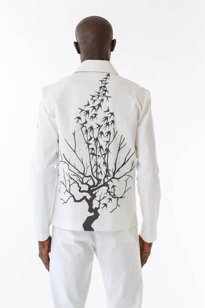 Mens Printed White Mackintosh Jacket back view