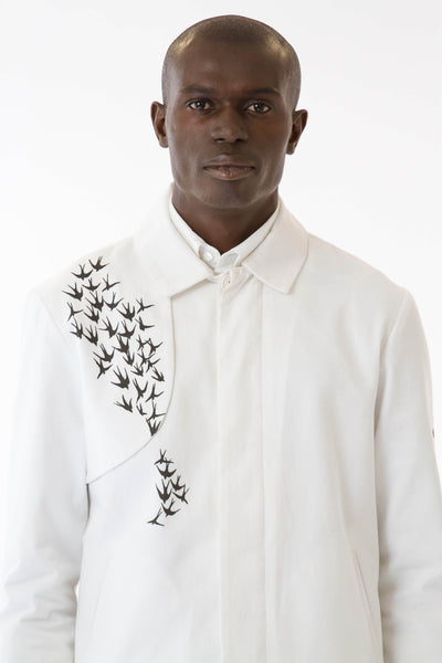 Mens Printed White Mackintosh Jacket front details view