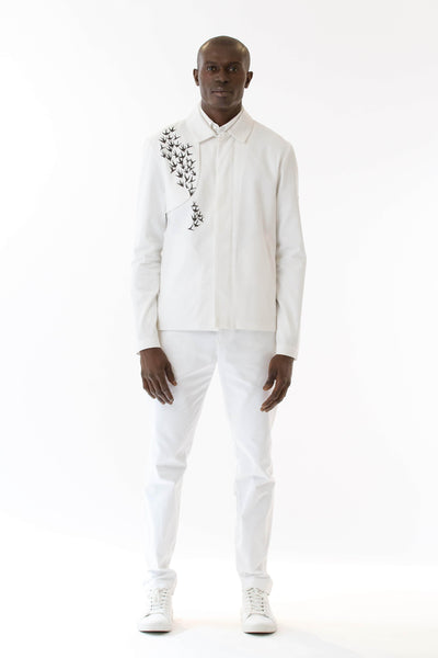 Mens Printed White Mackintosh Jacket front view