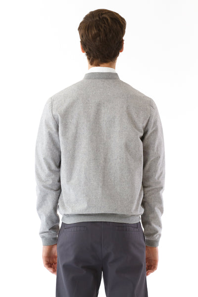 Mens Grey Hemp Bomber back view