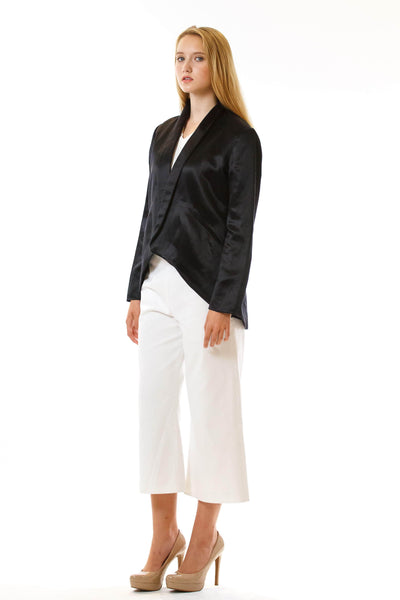 Womens Black Hempsilk Blazer three quarter view