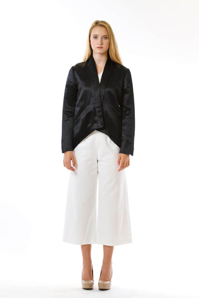 Womens Black Hempsilk Blazer front view