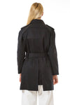 Womens Black Trenchcoat back view