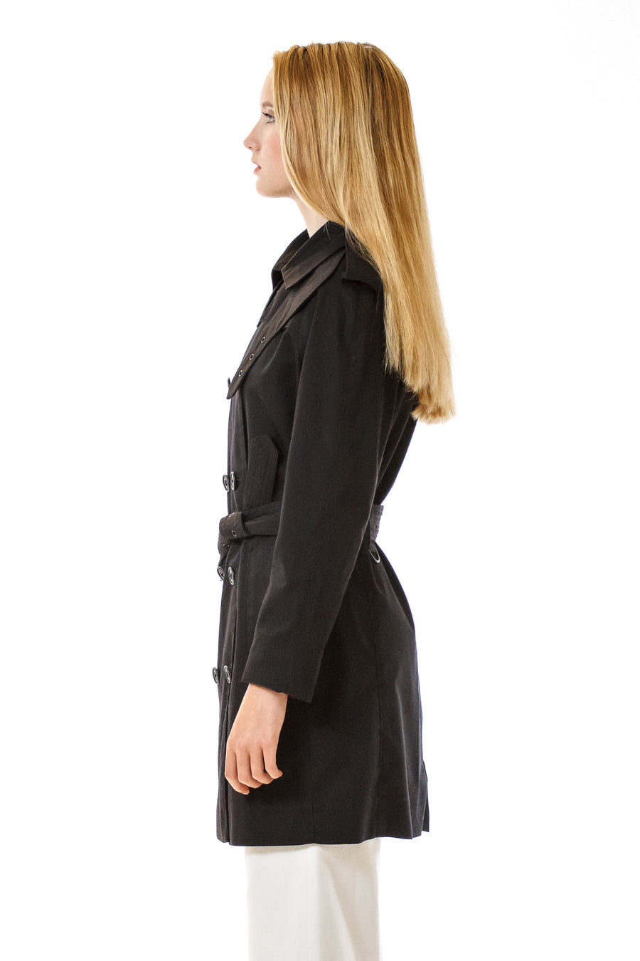 Womens Black Trenchcoat front view