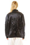 Womens Tufted Silk Bomber back view