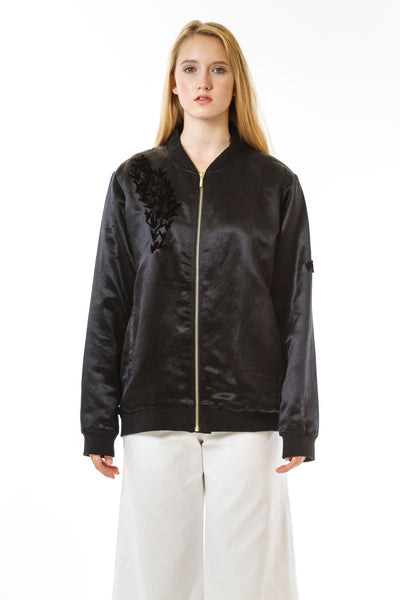 Womens Tufted Silk Bomber front view