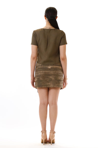 Womens Jagged Edge Skirt and Pleated Top back view