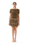 Womens Jagged Edge Skirt and Pleated Top front view