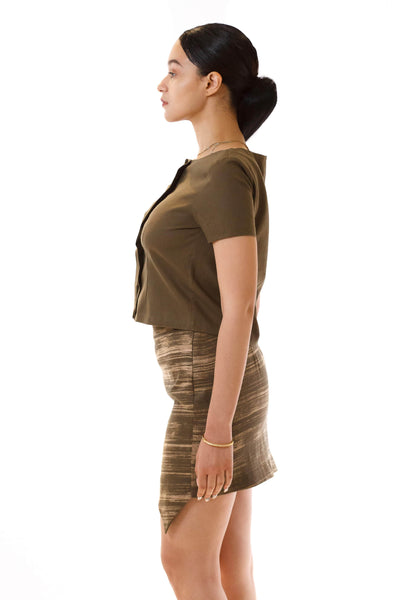 Womens Jagged Edge Skirt and Pleated Top side view