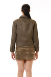 Womens Bleach Printed Green Jagged Edge Skirt Green Denim Utility Jacket back view