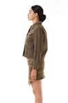 Womens Bleach Printed Green Jagged Edge Skirt Green Denim Utility Jacket side view