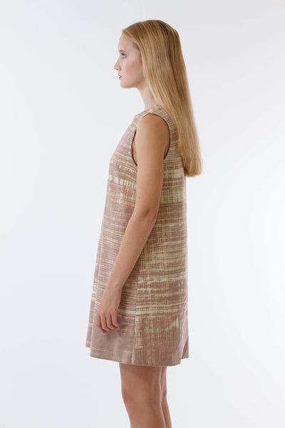 Womens Nutmeg Watercolor Bleach Printed Shift Dress side view