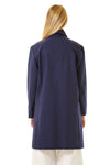 Womens Blue Recycled Long Mackintosh Jacket back view