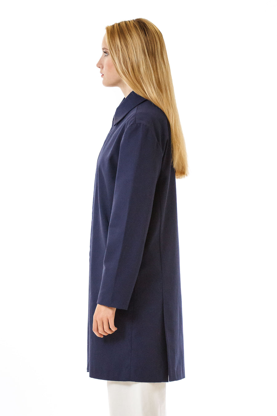 Womens Blue Recycled Long Mackintosh Jacket front view