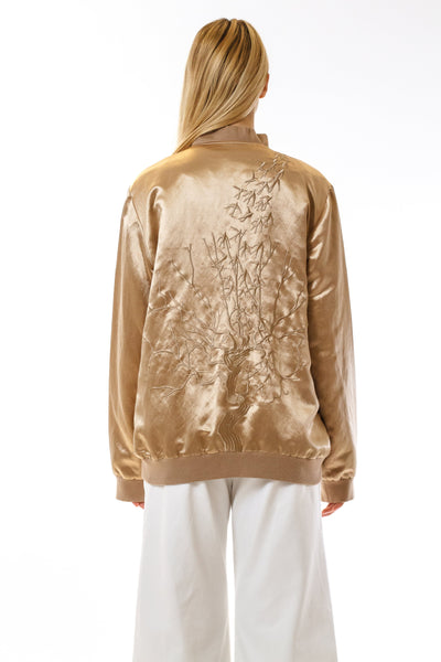 Womens Embroidered Gold Hempsilk Bomber back view