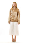 Womens Embroidered Gold Hempsilk Bomber front view