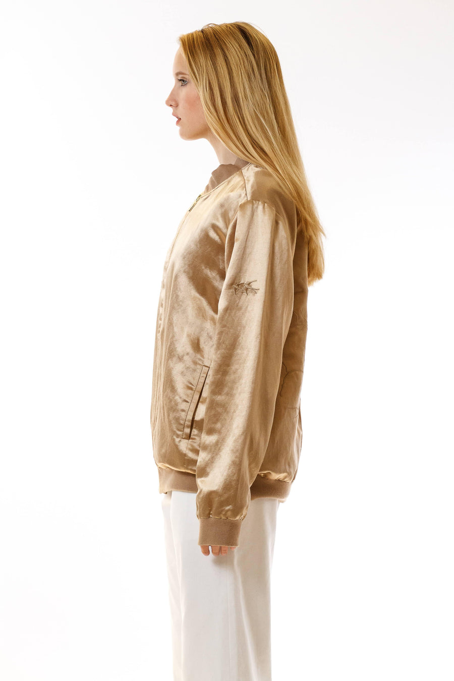Womens Embroidered Silk Bomber