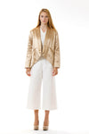 Womens Gold Hempsilk Blazer front view