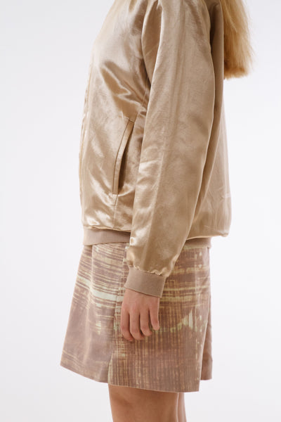 Womens Gold Hempsilk Bomber side detail view