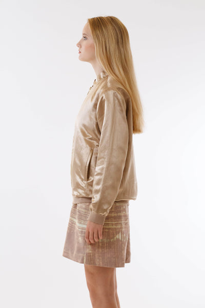 Womens Gold Hempsilk Bomber side view