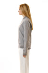 Womens Grey Hemp Bomber side view