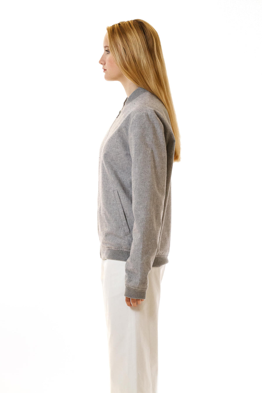 Womens Grey Hemp Bomber front view