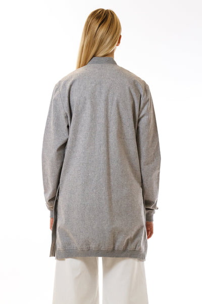 Womens Grey Hemp Long Bomber back view