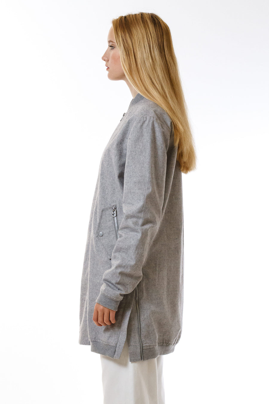 Womens Grey Hemp Long Bomber front view