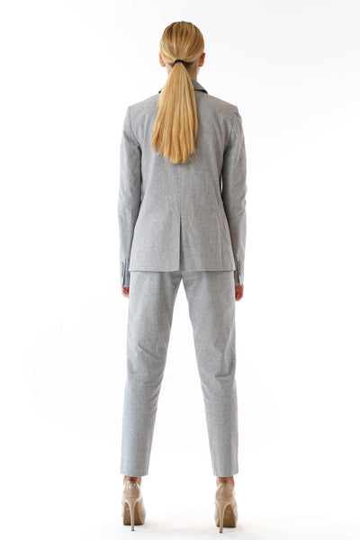 Womens Grey Suit Pants back view