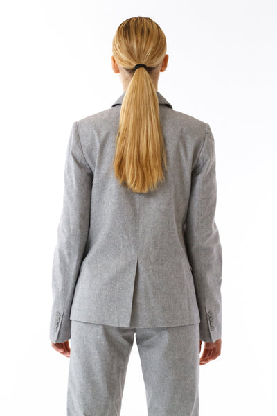 Womens Grey Suit Jacket back view